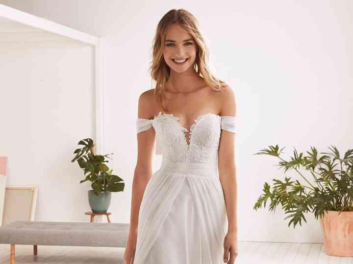 80 vestidos de novia con escote bardot muy seductores