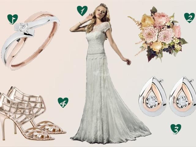 Look de novia en oro rosa y blanco