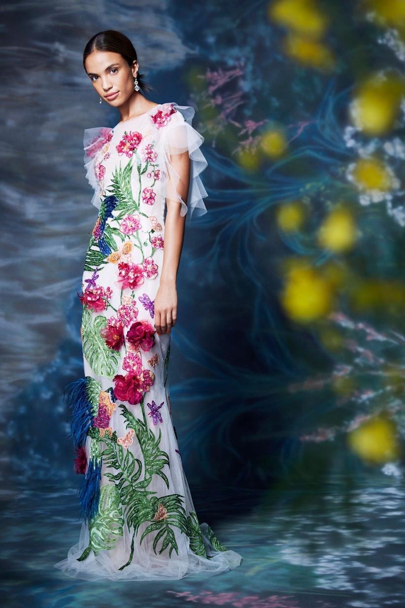 vestido de fiesta 2021 estampado floral de Marchesa