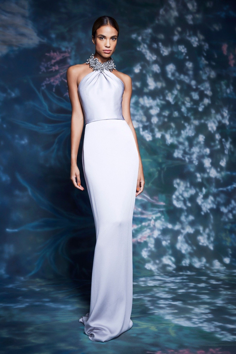 vestido de fiesta 2021 plateado de Marchesa