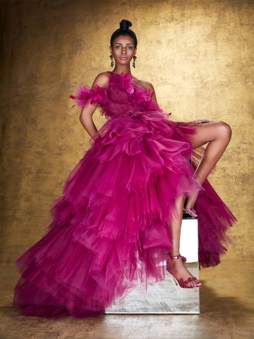 vestido de fiesta 2021 fucsia de Marchesa