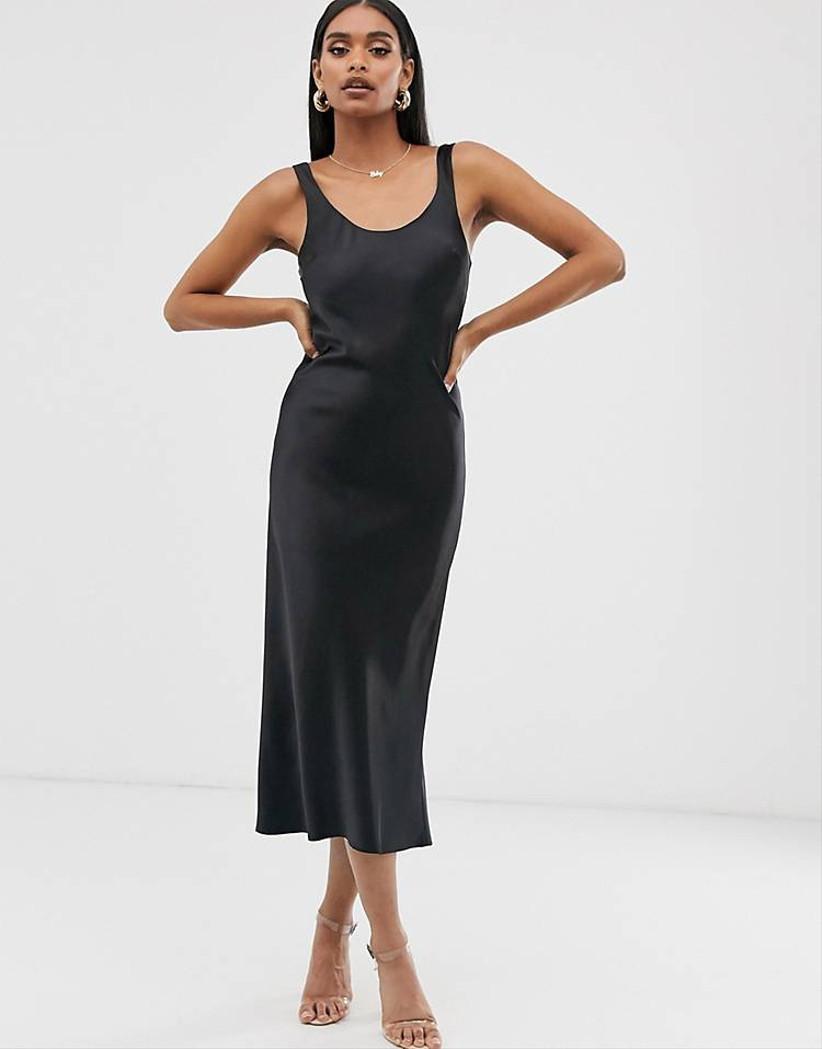 Vestido negro lencero Asos