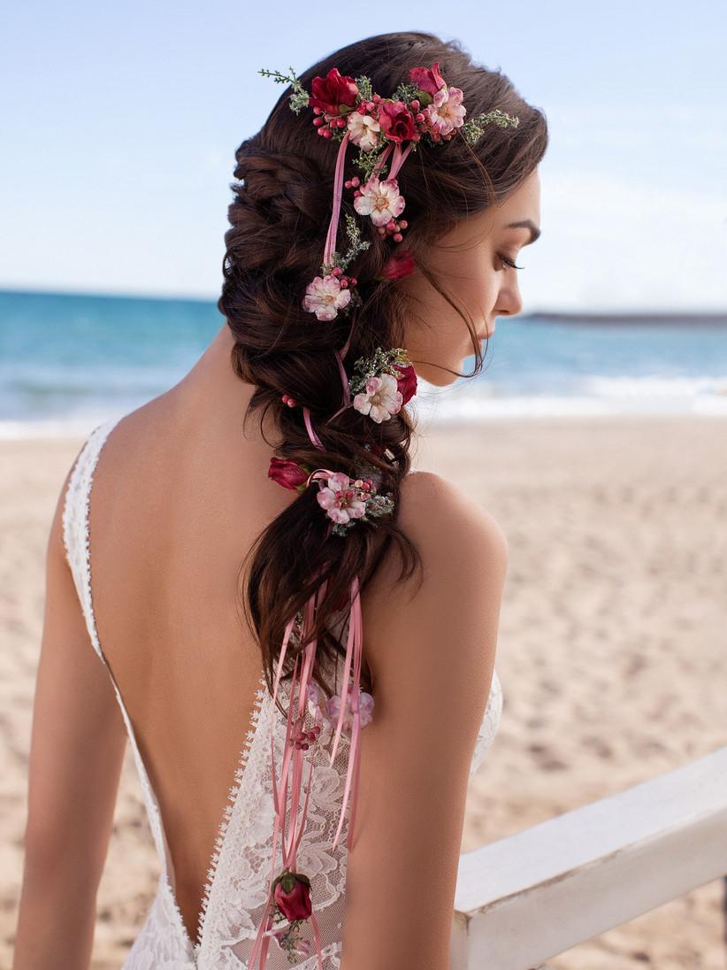 peinado de novia con trenza espiga