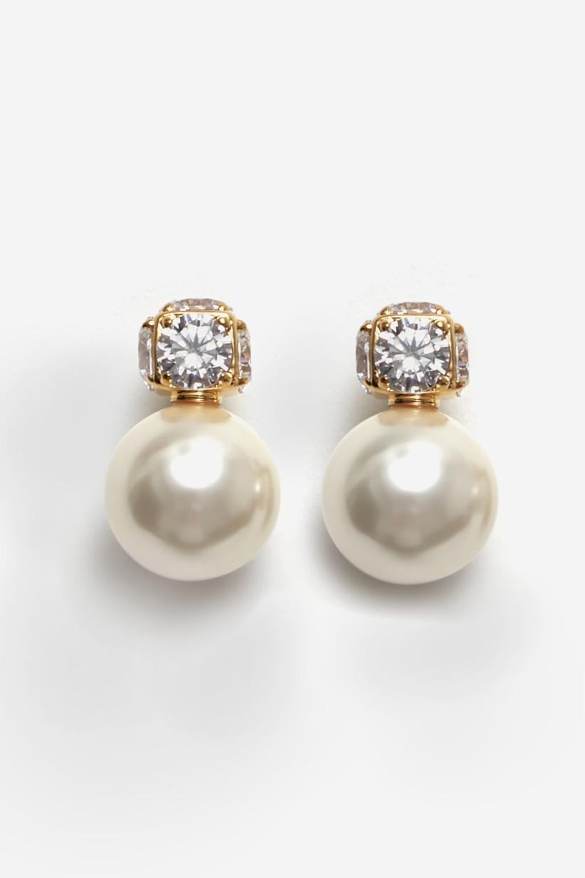 Aros de novia con perlas de Carolina Herrera