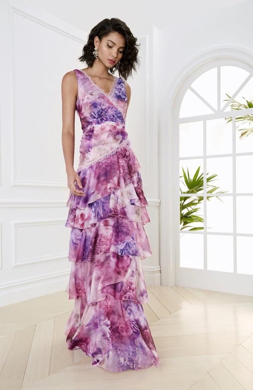 vestido de fiesta 2021 con capas de Marchesa