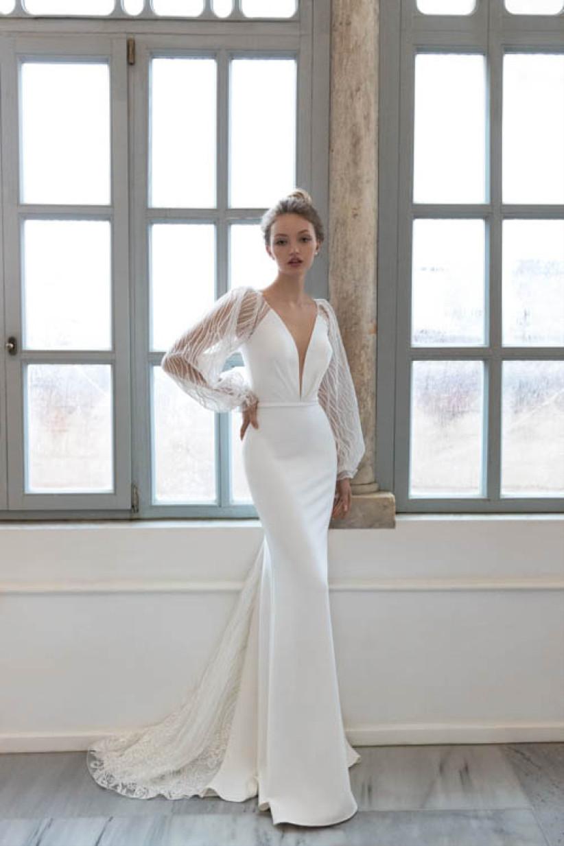 vestido de novia Daria Karlozi sirena mangas