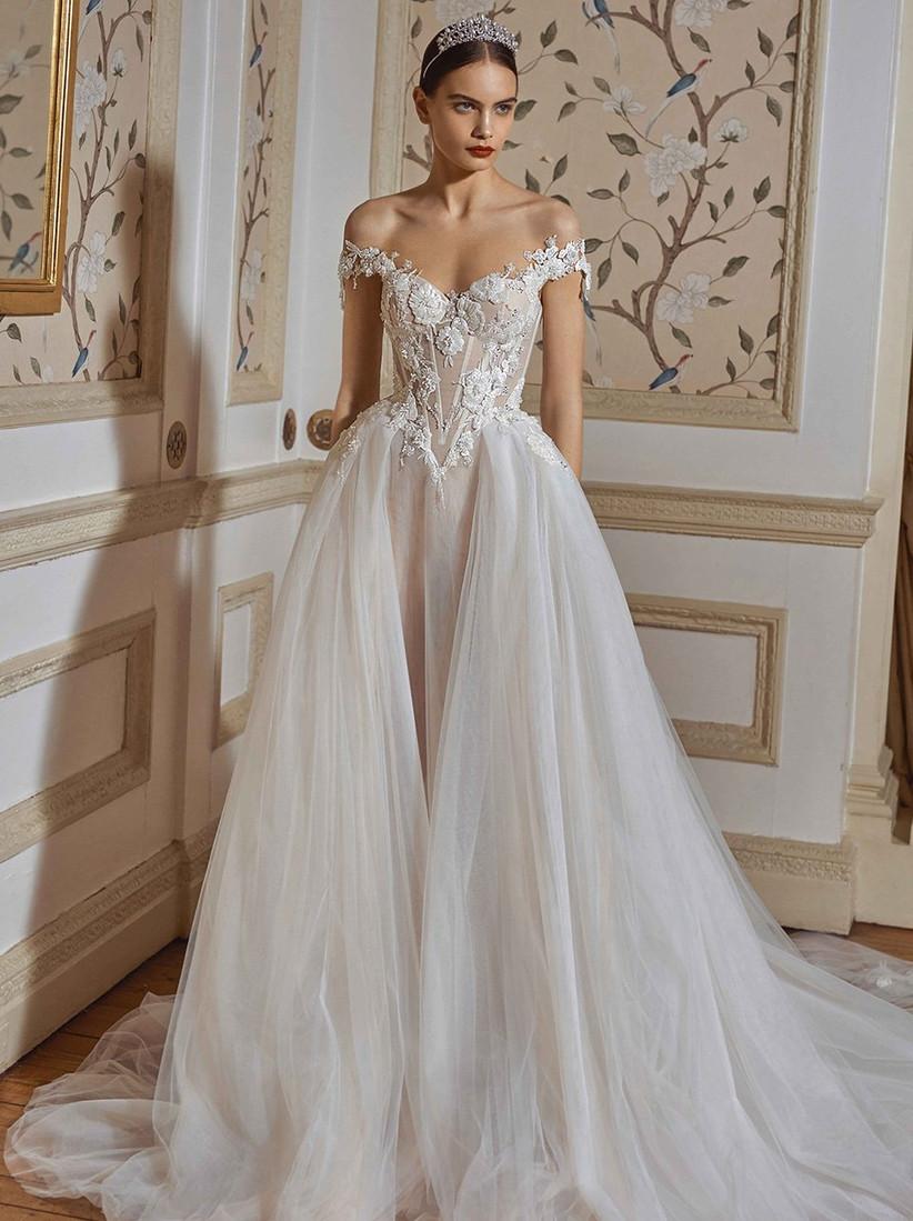 vestido de novia corte princesa y corsé Galia Lahav