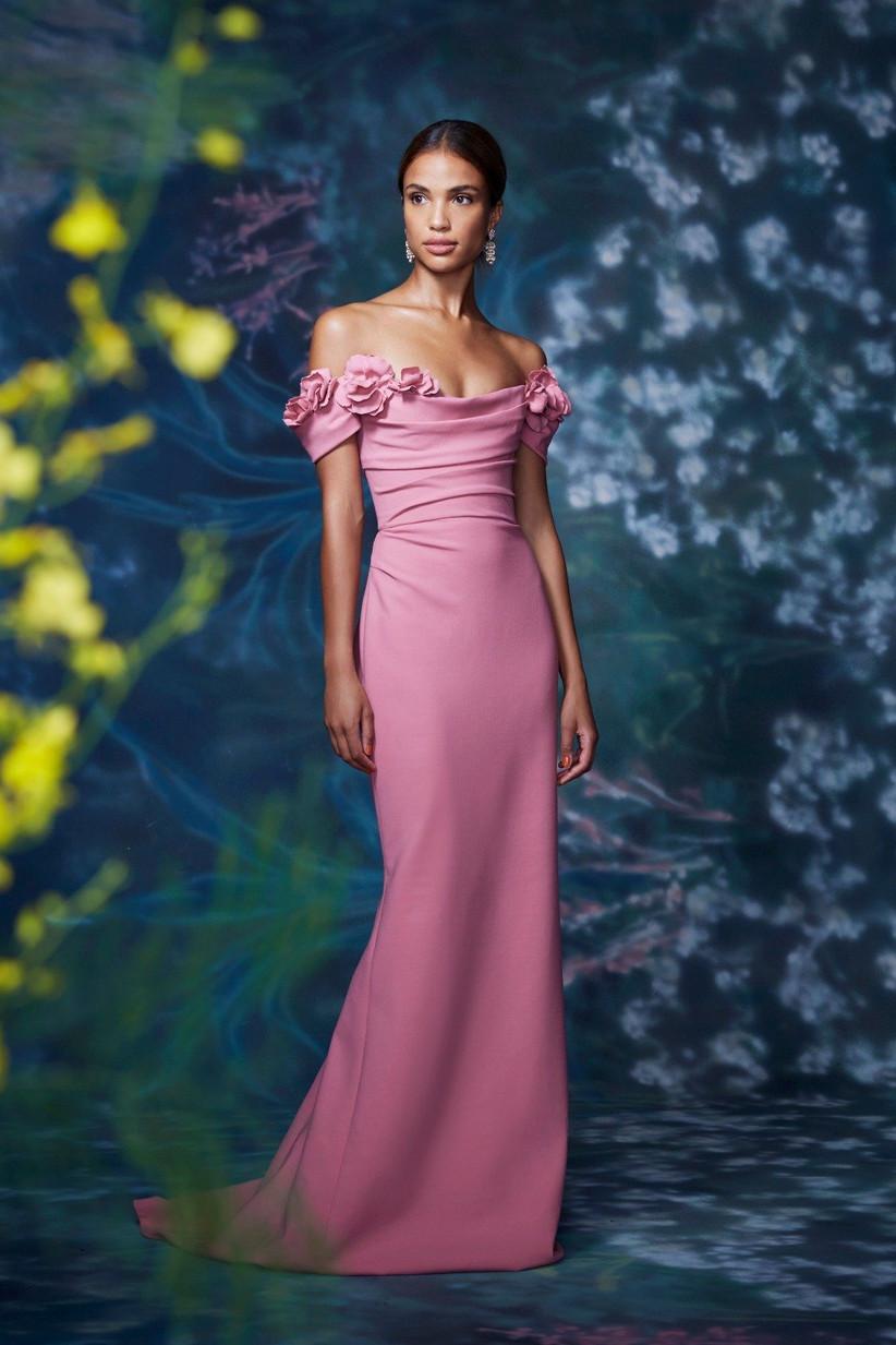 vestido de fiesta 2021 color pastel de Marchesa