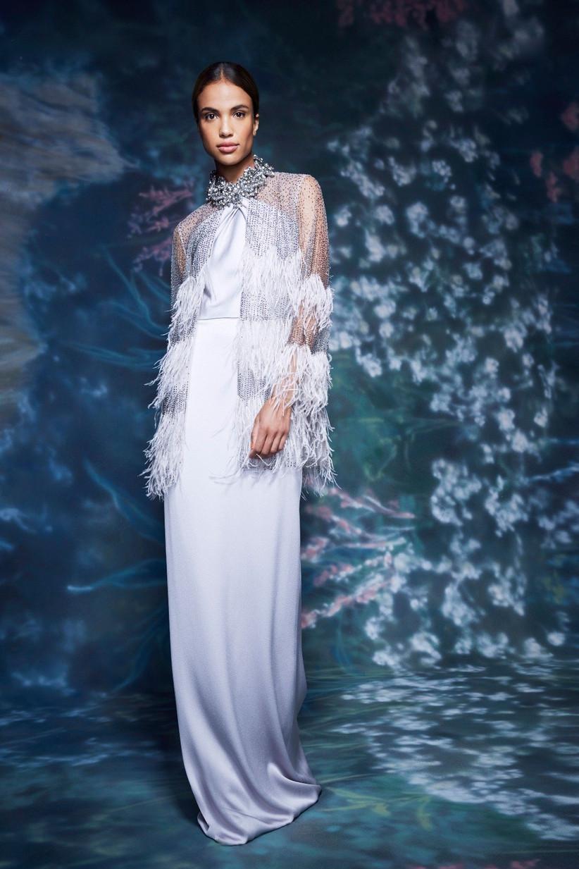 vestido de fiesta 2021 con flecos de Marchesa