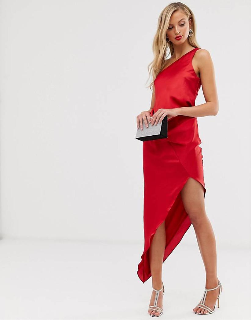 vestido Asos satinado rojo
