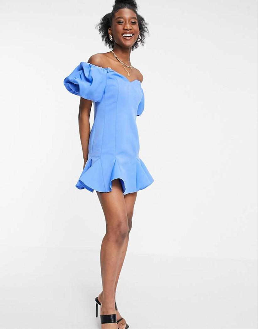 vestido corto Asos celeste