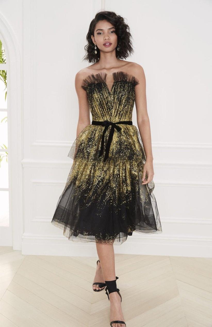 vestido de fiesta 2021 negro y dorado de Marchesa