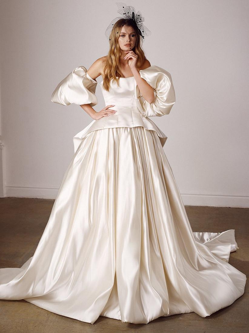 Vestido de novia corte princesa y mangas abullonadas