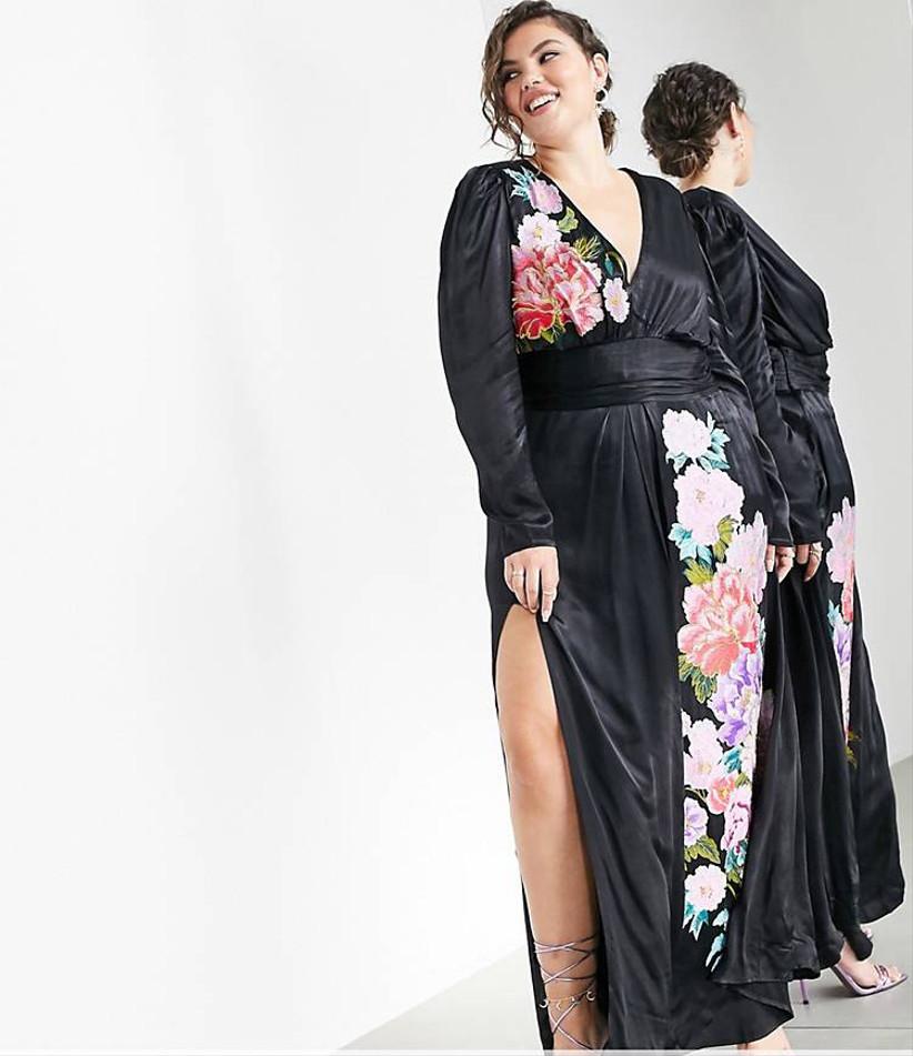 Vestido Asos estampado floreado negro