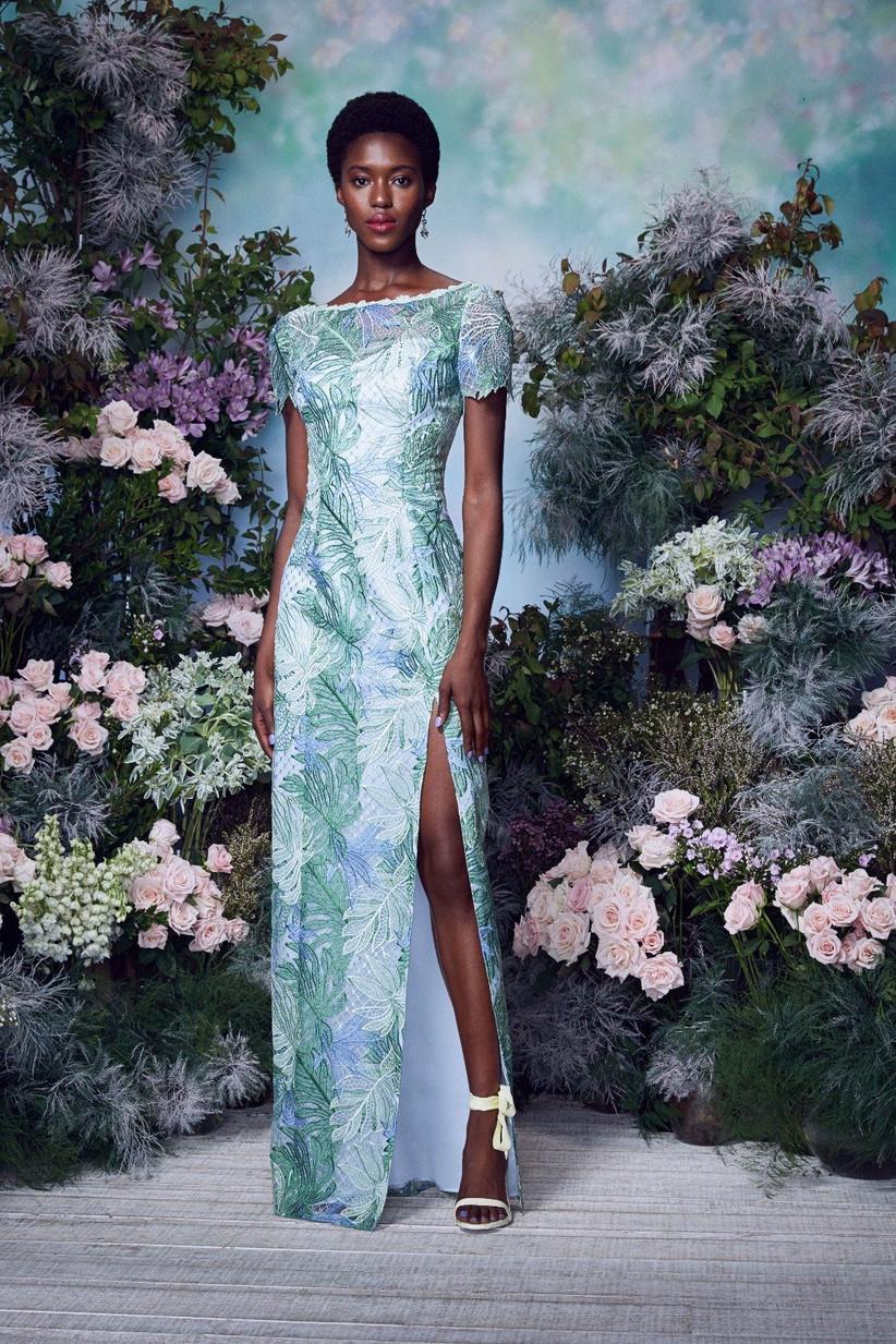 vestido de fiesta 2021 floreado de Marchesa