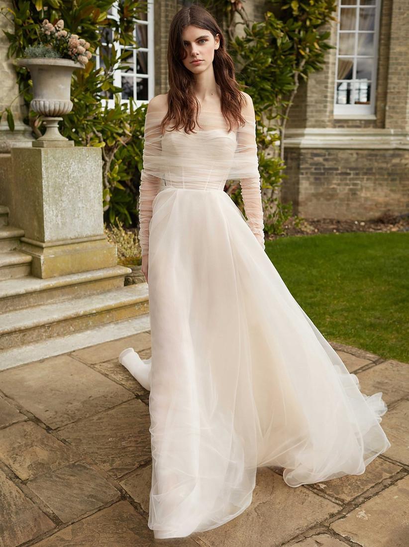 vestido de novia con telas vaporosas Galia Lahav