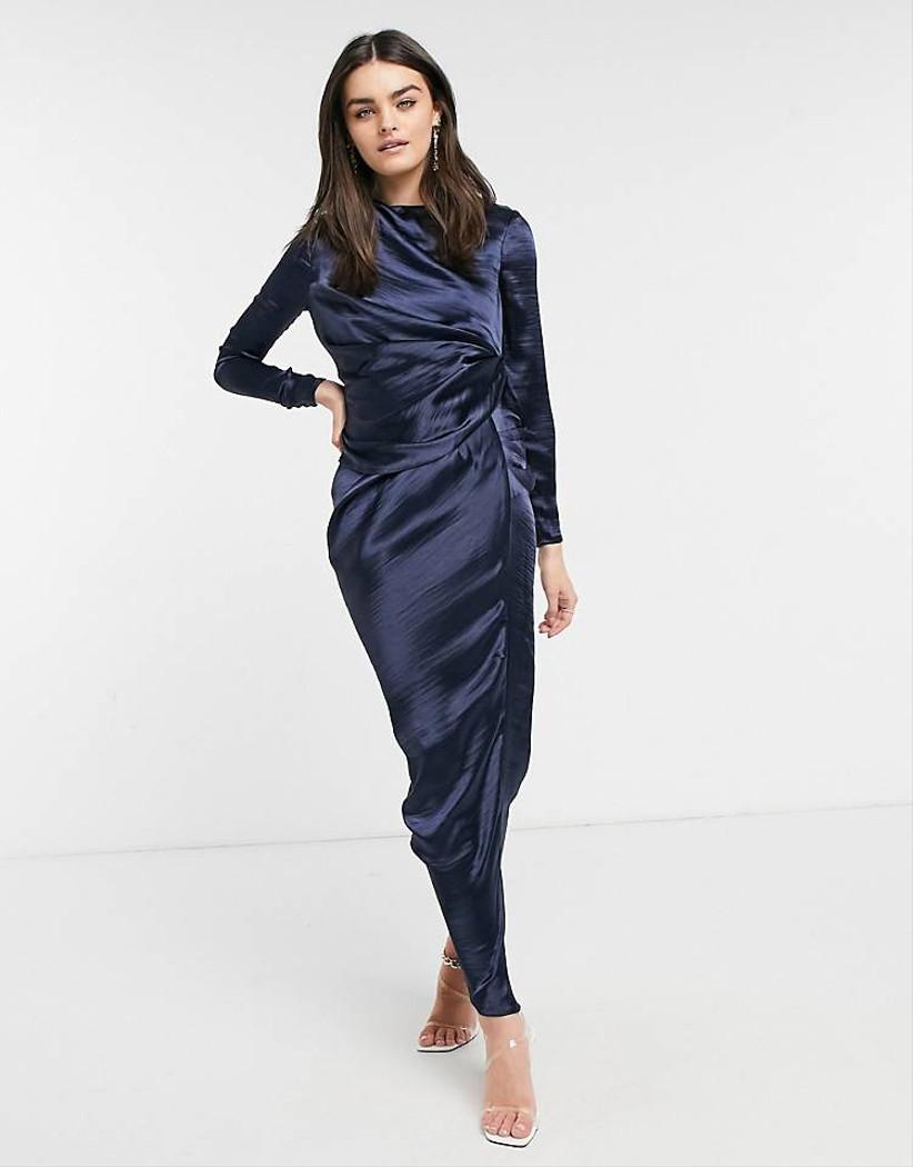 Vestido manga larga Asos satinado azul
