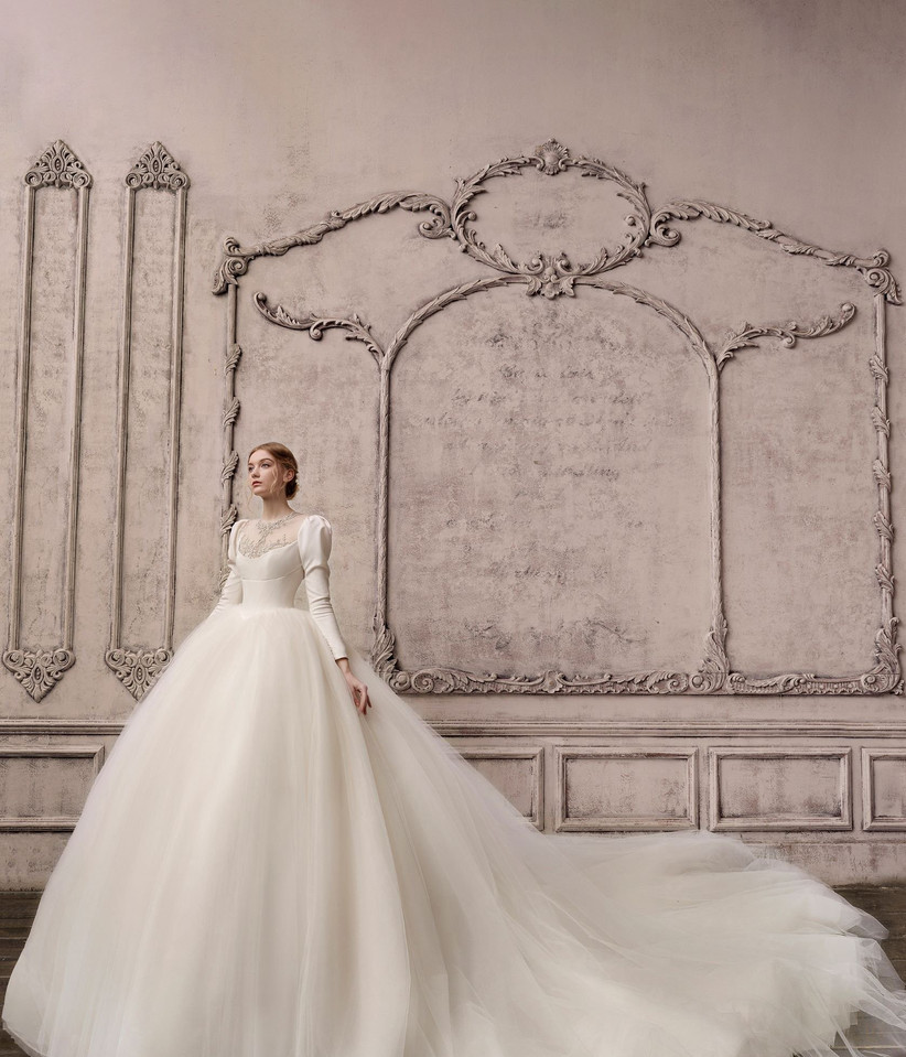 vestido de novia tul corte princesa