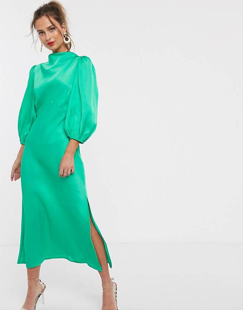 vestido Asos satinado verde