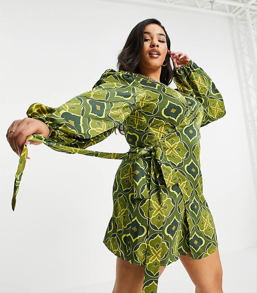 Vestido Asos estampado verde