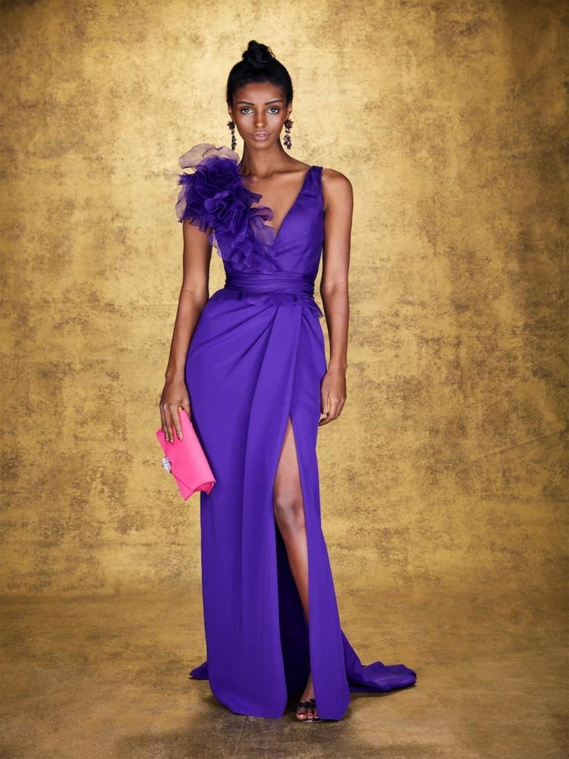 vestido de fiesta 2021 de Marchesa color violeta