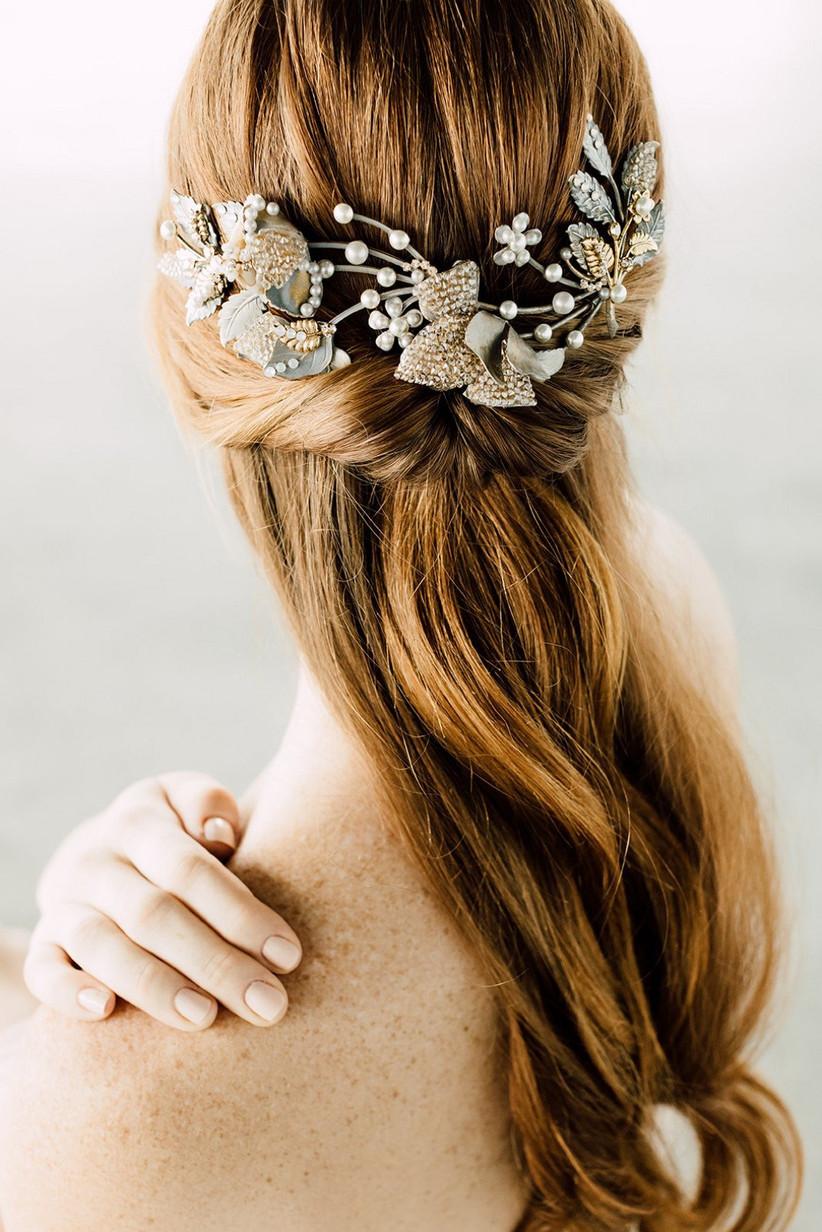 peinado de novia semirecogido