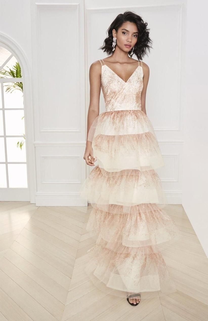 vestido de fiesta 2021 dorado de Marchesa