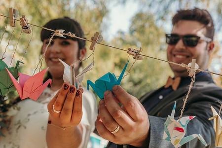 Grullas de origami para decorar su matrimonio
