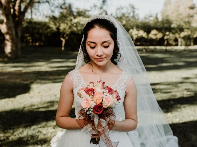 El encanto de casarse con un ramo de novia solo de rosas