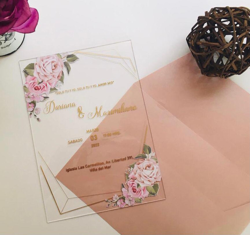 invitaciones de matrimonio metacrilato