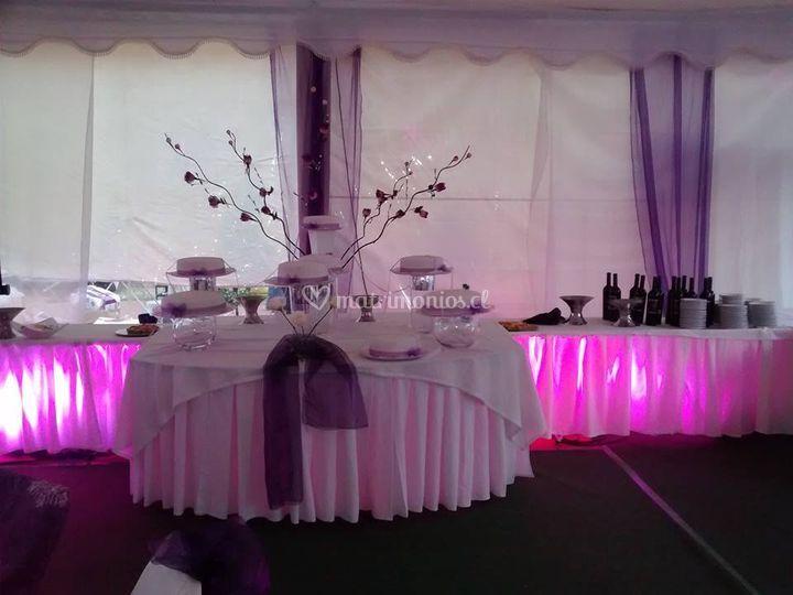 Iluminación led mesas tortas