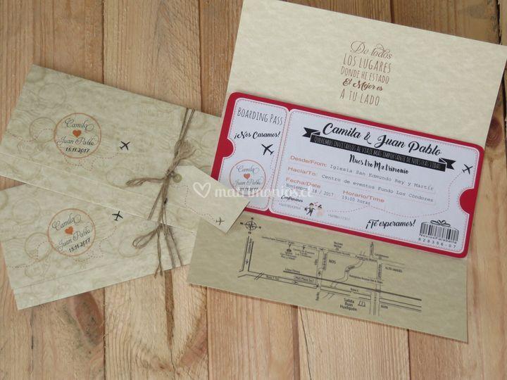 Ticket aéreo invitación