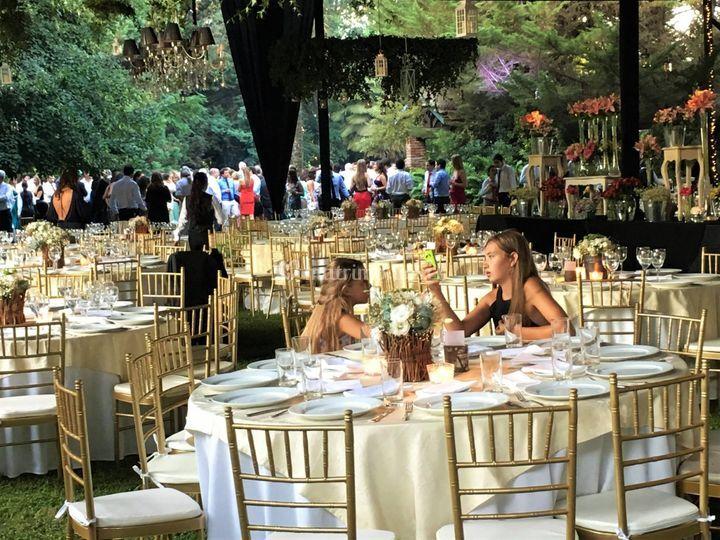 Matrimonio sillas doradas