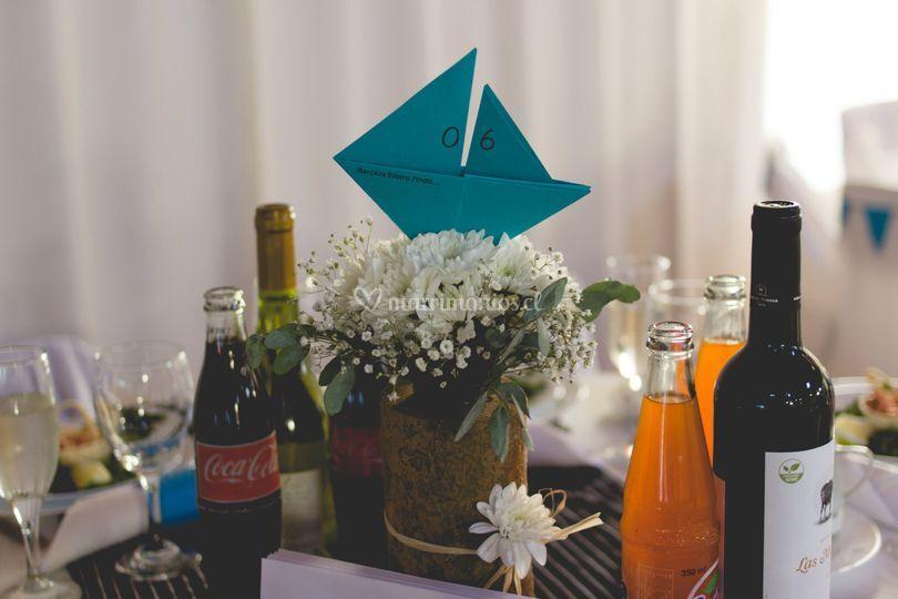 Centro de mesa bote origami