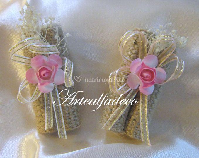 Souvenir velas arpillera