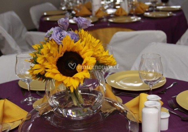 Centro de mesa con girasoles