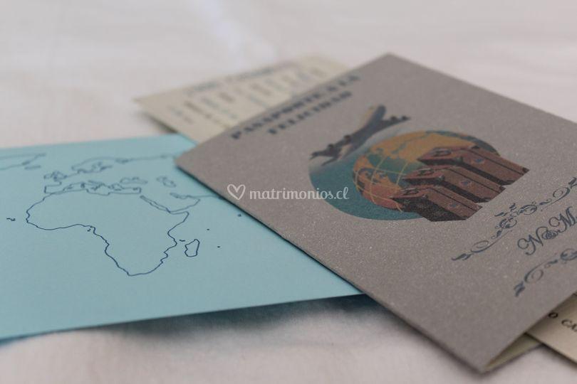 Pasaporte y billete de avión