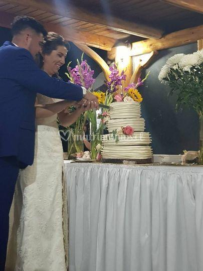 Novios en el corte de la torta