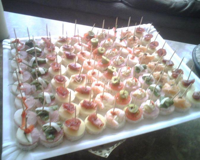 Canap s salados de jessica child banquetes fotos for Canape para coctel