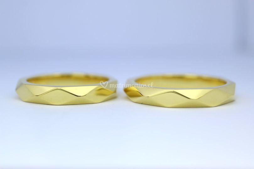 Argollas rombos oro amarillo