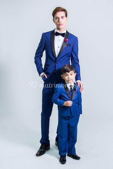 Smoking azul adulto y niño