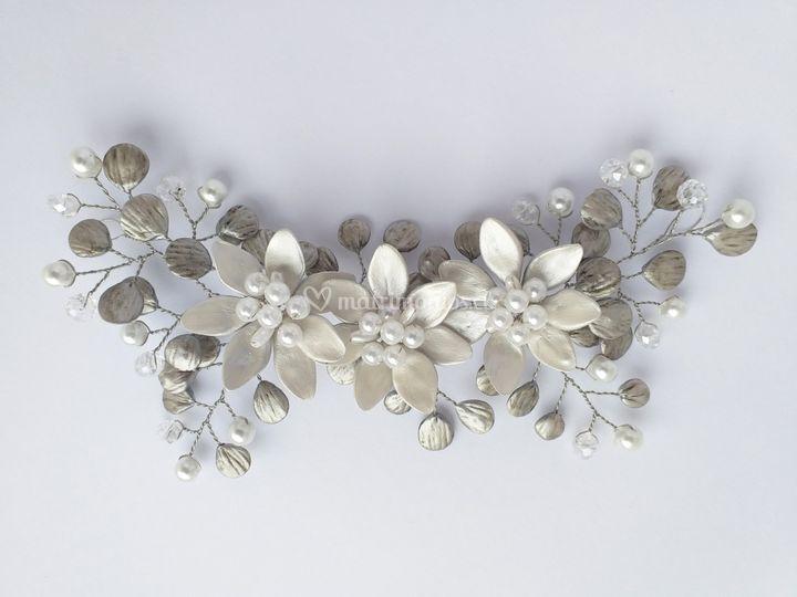 Plata envejecida perlas