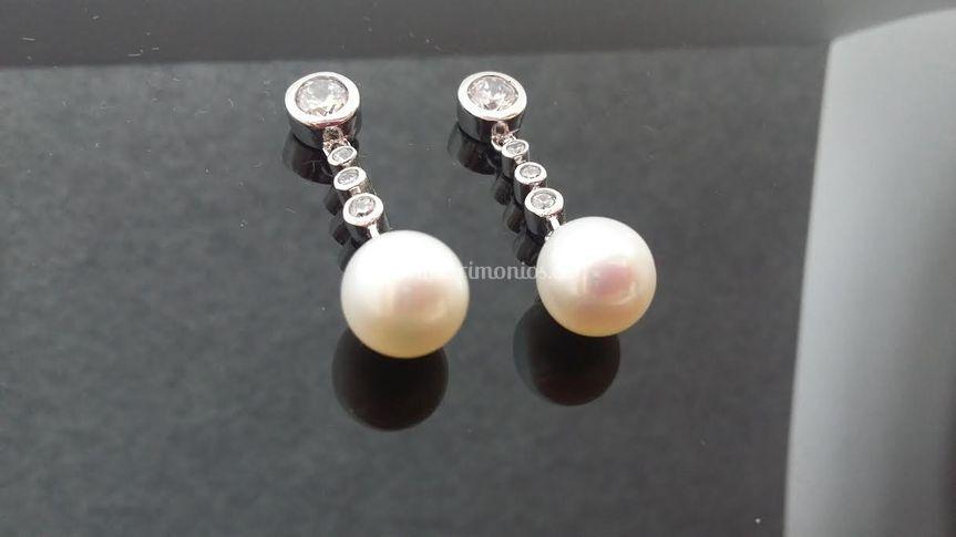 3-Pendientes de Plata Perla
