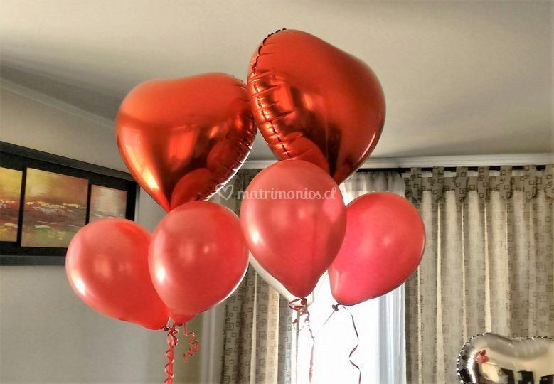 Corazones con helio