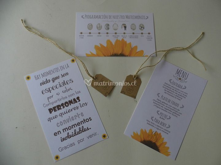 Carta de menú del matrimonio