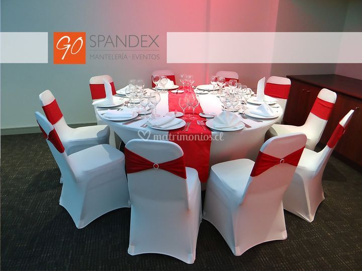 Montaje spandex blanco rojo