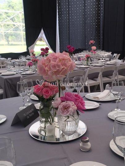 Salón gris rosa