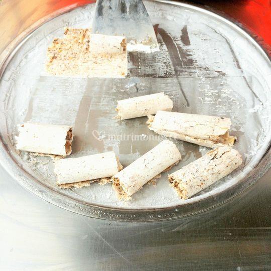 Helado de lúcuma, galleta, alm