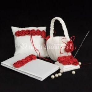 Complementos con blanco y rojo
