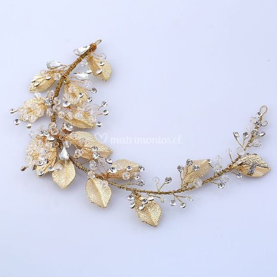 Tocado cristal hojas oro